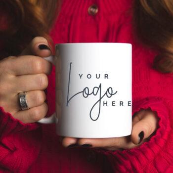 Custom ceramic coffee mug with logo