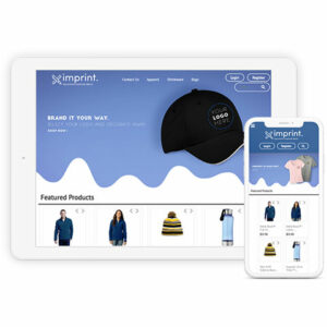 sample of a custom company store on tablet and phone